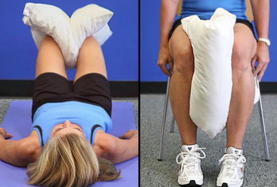 Knee arthritis exercises - pillow squeeze